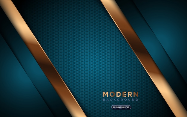 Luxury background with golden abstract shapes and hexagon texture.