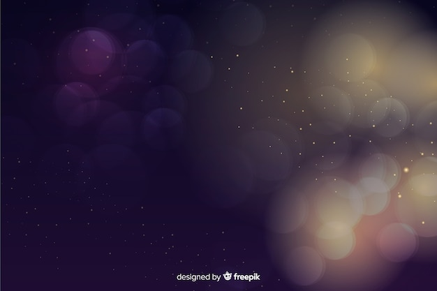 Luxury background with golden and blue particles bokeh