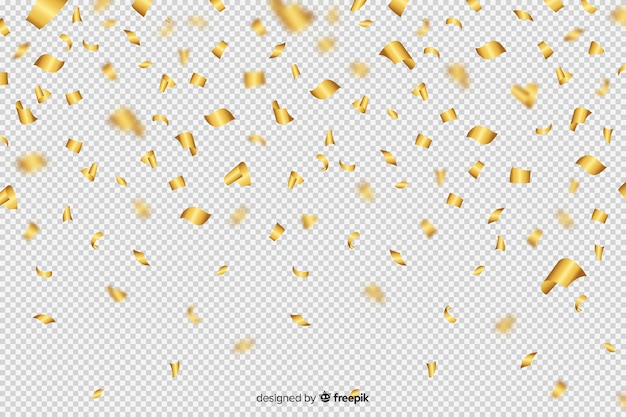 Luxury background with golden confetti falling down