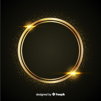 Luxury background with golden particles and rounded circle frame
