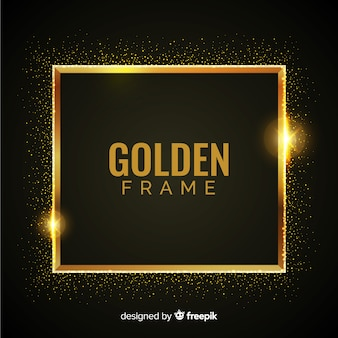 Luxury background with golden particles and square frame