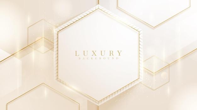 六角形と金色のラインがきらめく豪華な背景、モダンなグラデーションカバーデザイン。 3dベクトルイラスト。