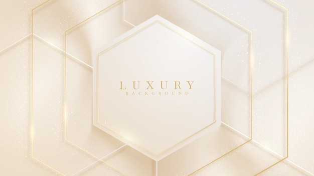 Luxury background with hexagon shape and golden line sparkling, modern gradient cover design. 3d vector illustration.