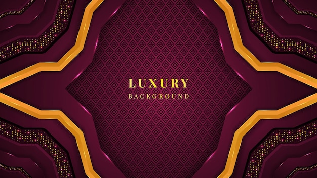Роскошный фон с формами пурпурного и золотого цвета, орнаментами, блестками и сиянием.