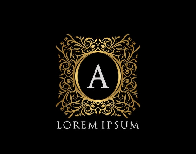 Luxury badge letter a logo. luxury gold calligraphic vintage emblem with beautiful classy floral ornament. classy frame design vector illustration.
