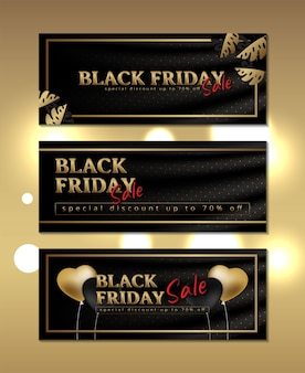 Luxury banner black friday on silk with gold frame