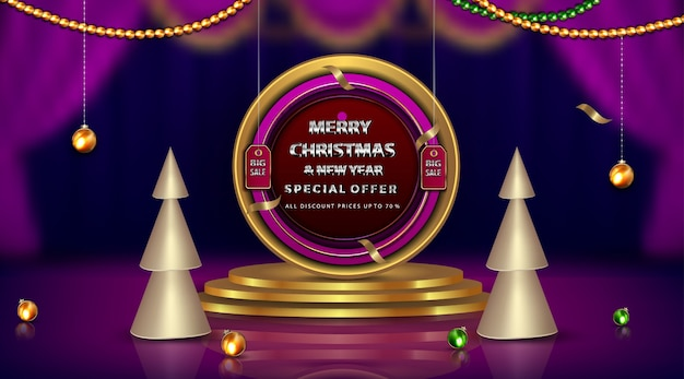 Luxury banner merry christmas and new year up to diamonds and golden frame elements