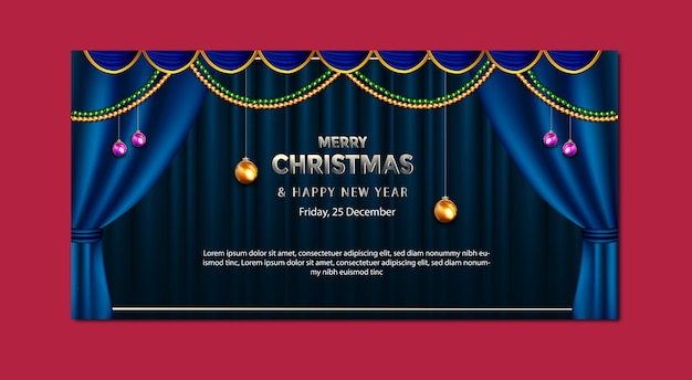 Luxury banner template christmas and new year