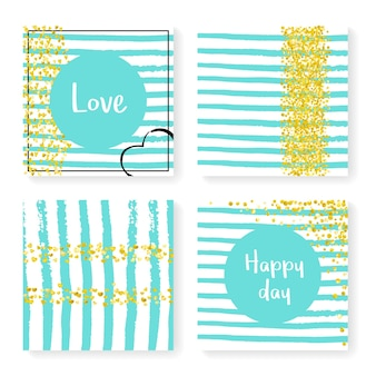 Luxury banner. white glittery magazine. golden abstract concept. romantic flyer. decoration particles set. turquoise party invite. nursery wallpaper. stripe luxury banner