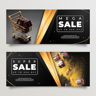 Luxury banners with photo template