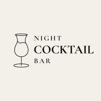 Modello di logo bar di lusso con bicchiere da cocktail minimo