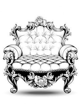 Luxury baroque armchair with elegant rose structure