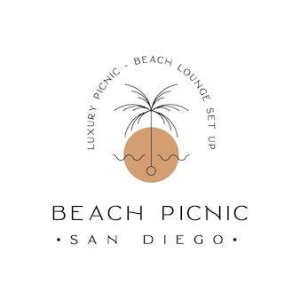 Luxury beach picnic lounge set up logo design inspiration