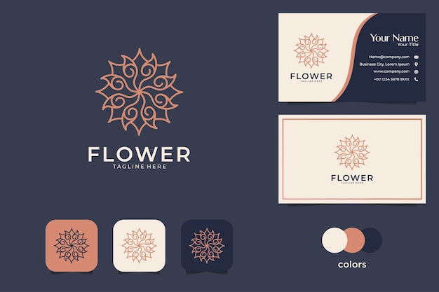 럭셔리 아름다운 기하학 로고 디자인 및 명함