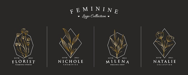Luxury and beautiful hand drawn logo collection set