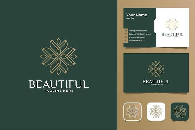 럭셔리 아름다운 라인 아트 로고 디자인 및 명함