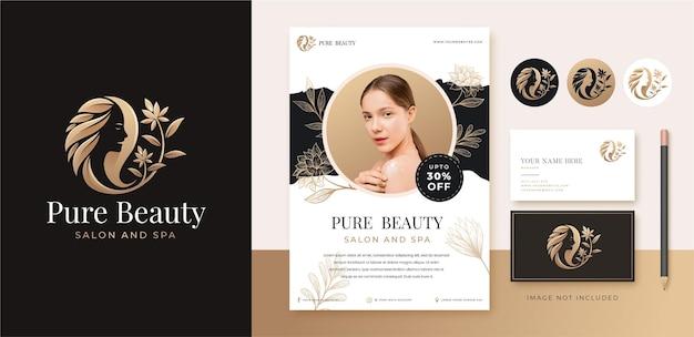 Luxury beauty floral woman logo design