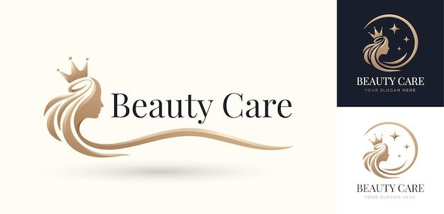 Роскошный дизайн логотипа королевы волос красоты