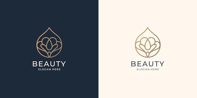Роскошная косметическая линия с минималистской концепцией капельного масла. абстрактный женский спа-логотип вдохновения.