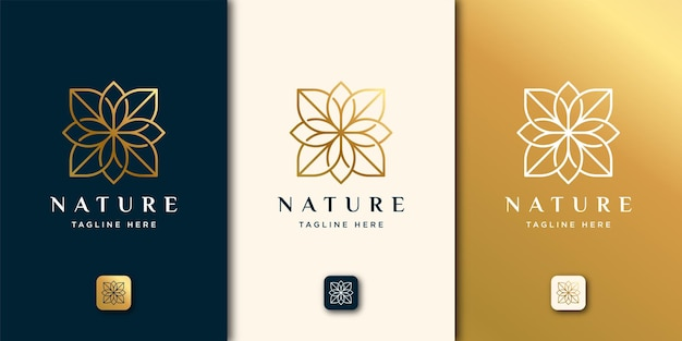 Luxury beauty nature line art style. leaf logo template