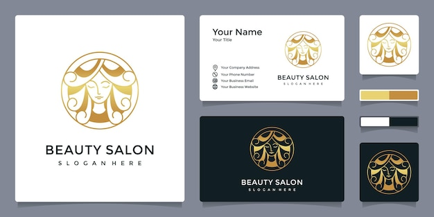 Luxury beauty salon woman logo with business card template