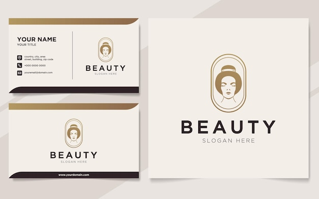 Luxury beauty women logo and business card template