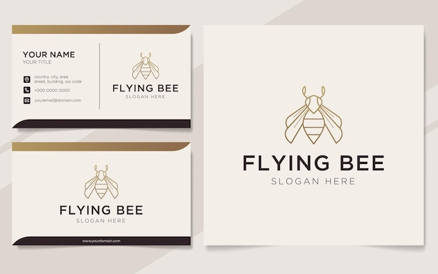 豪華な蜂のロゴと名刺のテンプレート