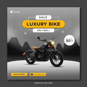 Luxury bike sale promotion social media facebook cover banner template