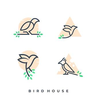 Luxury bird line logo template