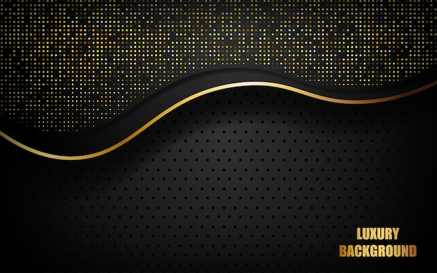 Luxury black abstract background overlap layer on dark space with golden waves and dots glitters