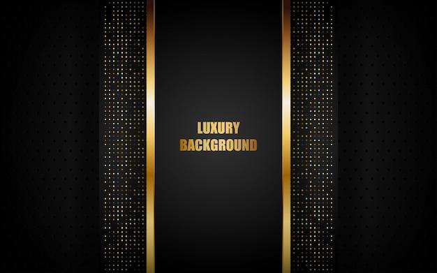 ゴールデンフレームとドットのきらめきと暗い空間上の豪華な黒の抽象的な背景重複レイヤー