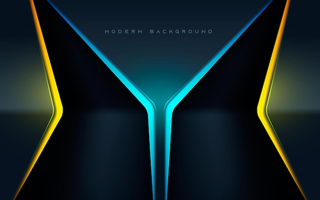 Luxury black abstract background with blue and yellow light effect