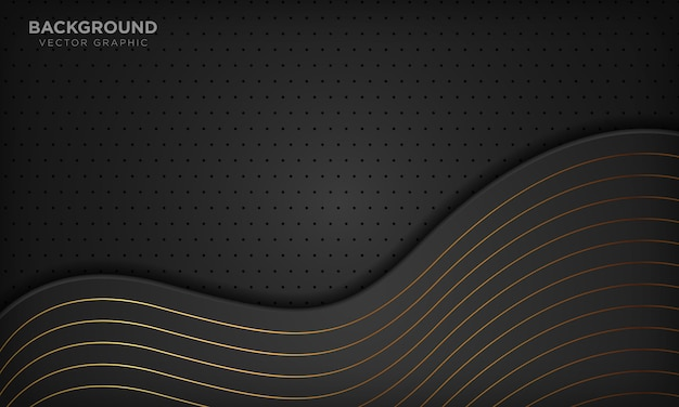 Luxury black abstract wave background with golden lines.