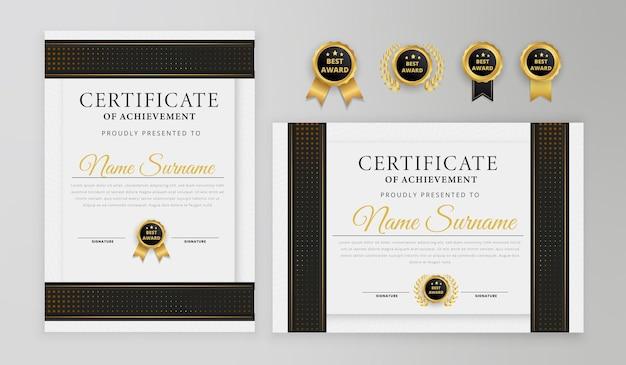 Роскошный черно-золотой шаблон сертификата
