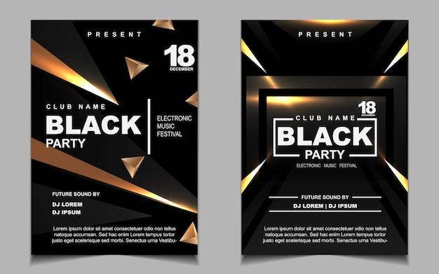 Роскошная черная и золотая ночь танцевальная вечеринка музыкальный флаер или дизайн плаката