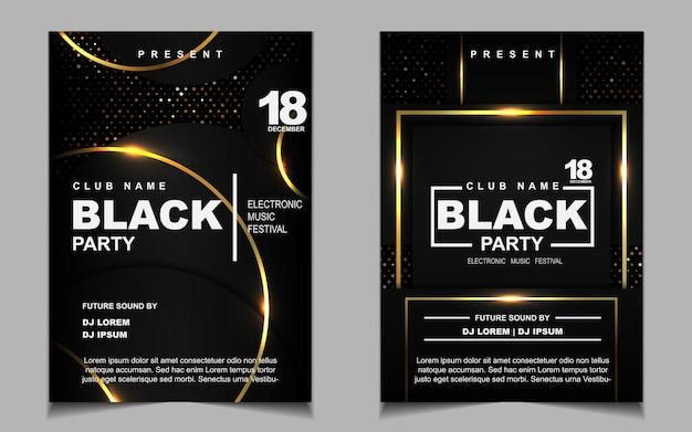 Роскошный черный и золотой ночной танцевальный флаер или дизайн плаката Premium векторы