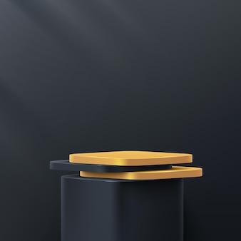 검은 벽 장면에서 럭셔리 블랙과 골드 라운드 코너 큐브 받침대 연단 추상 렌더링 3d 모양