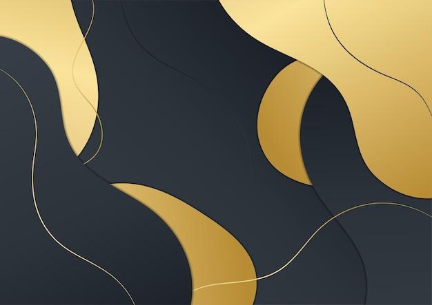 豪華な黒と金の波の抽象的な背景