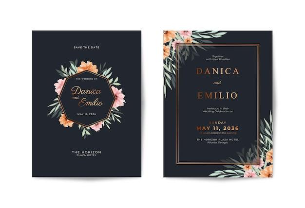 아름다운 꽃 수채화와 럭셔리 블랙과 골드 청첩장 템플릿