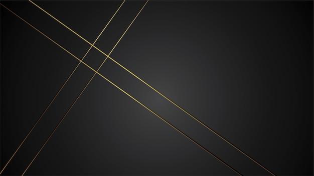 Luxury black background banner illustration with gold strip art deco black border