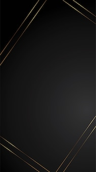 Luxury black background banner illustration with gold strip art deco empty space