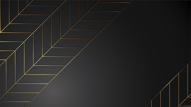 Luxury black background banner illustration with gold strip art deco leave modern