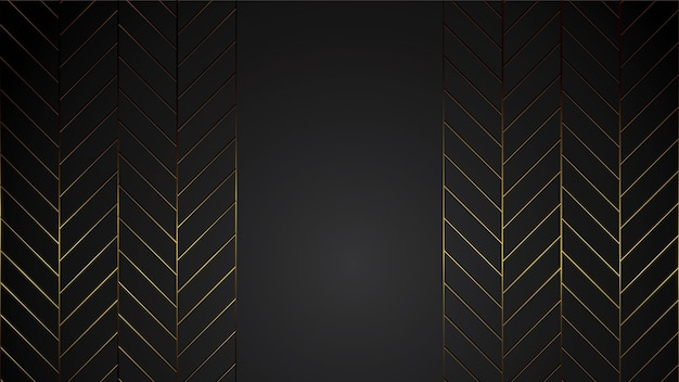 Luxury black background banner illustration with gold strip art deco line for company