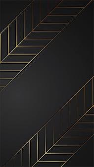 Luxury black background banner illustration with gold strip art deco pattern