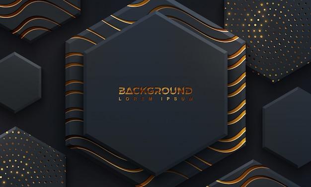 Роскошный черный фон с 3d-стиле.