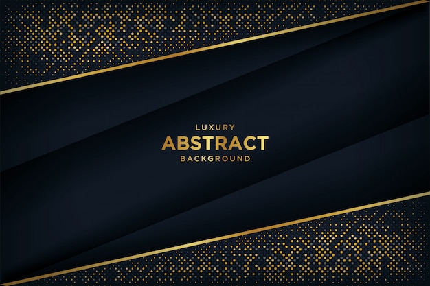 Luxury black background with a combination glowing golden dots with 3d style.