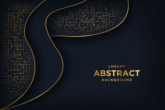 Luxury black background with a combination glowing golden dots.