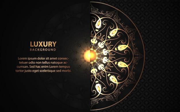 Luxury black background with golden mandala ornament