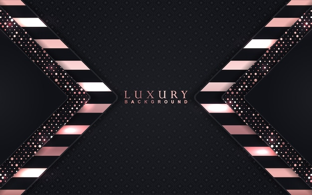 Luxury black background with rose golden decoration