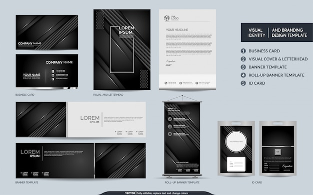 Luxury black carbon stationery set and visual brand identity with abstract overlap layers background.